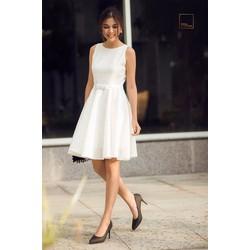 Đầm xòe Taylor trắng nơ eo