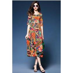 Đầm trung niên phom xoè eo cao nhập quảng châu