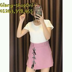 quần váy xẻ tà đan dây chữ