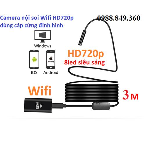 Camera nội soi dây cáp cứng định hình dài 3mét phát wifi chuẩn hd720p