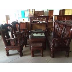 Bộ bàn ghế quốc triên - gỗ gụ - tay 10
