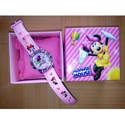 Đồng hồ đeo tay, dây da in hình Mickey