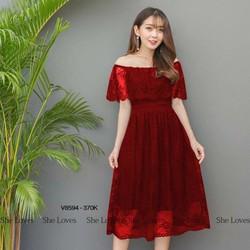 Đầm Xoè Ren Hoa Trễ Vai Hót-Đ1998