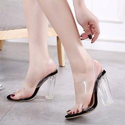 Giày cao gót nữ trong suốt 2 quai trong - LN1348