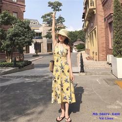 Đầm Maxi Trái Thơm Đan Dây Lưng