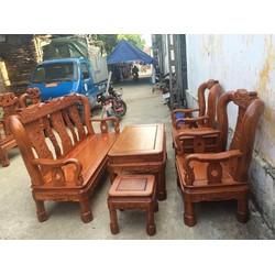 Bộ bàn ghế giả cổ quốc triện - gỗ hương vân - tay 12