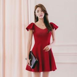 Đầm Xoè Đỏ Tay Cánh Tiên - Hàng Thiết Kế