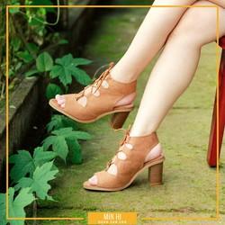 Giày cao gót cột dây nhung dạng boot 7cm