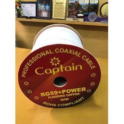 Cuộn dây cáp đồng trục Captain RG59+Power Flooding copper có dầu