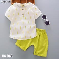 Set quần áo in họa tiết lá dương xỉ dễ thương cho bé trai giá rẻ