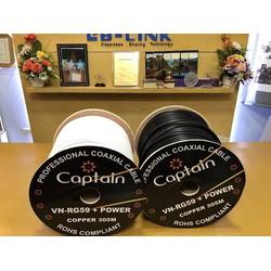 Cuộn dây cáp đồng trục Captain RG59+Power copper không  dầu