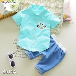 Set quần áo in họa tiết hình mặt cười dễ thương cho bé trai giá rẻ