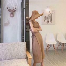 Đầm maxi thun đan eo 2 màu