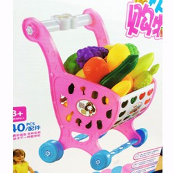 Bộ đồ chơi xe đẩy hàng siêu thị loại lớn cho bé