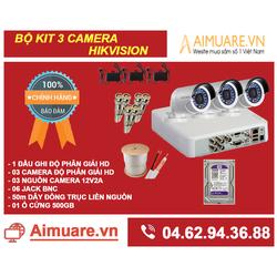 Combo hệ thống 3 camera Hikvision chính hãng tự lắp đặt - AMR43