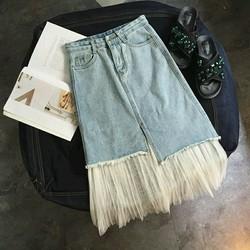 Chân váy jean lót ren lưới siêu đẹp