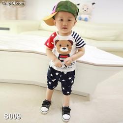 Set quần áo in họa tiết hình con gấu dễ thương cho bé trai giá rẻ