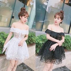 Đầm ren bẹt vai xoè