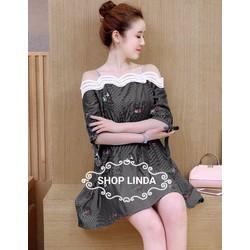 Đầm bẹt vai thiết kế hoa Lilac