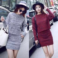 Set áo và chân váy len Quảng Châu cao cấp