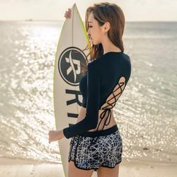 Đồ bơi nữ kín đáo tay dài - áo đan dây sau lưng cực đẹp