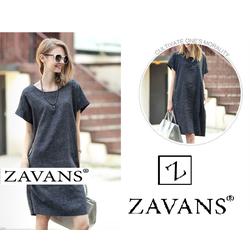 Đầm suông tay ngắn kèm đai rời thời trang ZAVANS