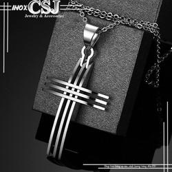 Mặt dây chuyền inox nam kiểu thánh giá không đen MĐ116
