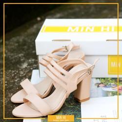 Giày cao gót hở mũi 1 quai bự và 3 quai nhỏ đế vuông 7cm