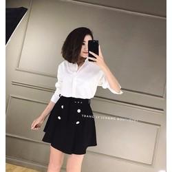 Set áo sm + váy đính nút