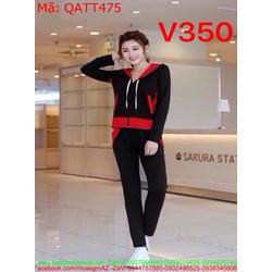 Sét thể thao nữ áo khoác có nón phối quần dài QATT475