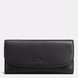 Coach Pebble Leather Checkbook Wallet, Black