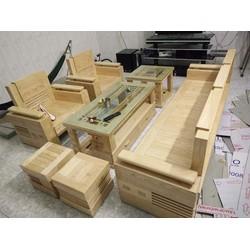 salon phòng khách gỗ sồi tự nhiên 7 món