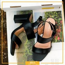 Giày cao gót hở mũi 2 quai đế vuông 7cm