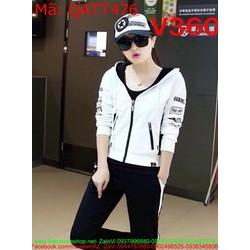 Sét thể thao nữ áo khoác có nón phối quần dài in chữ sành điệu QATT476