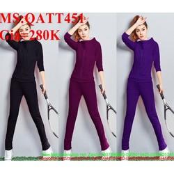 Bộ thể thao nữ áo dài tay cổ trụ và quần dài sành điệu QATT451