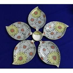 set đĩa hoa năm cánh vẽ hoa hướng dương gốm sứ  Bát Tràng