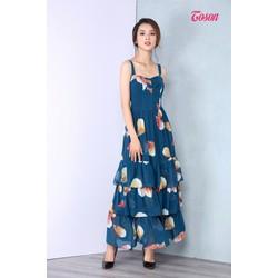 46008X327 - Đầm maxi họa tiết lá cây, 2 dây, váy xếp 3 tầng