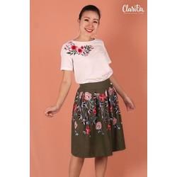 Chân váy xếp ply thêu nổi | Embroi Skirt