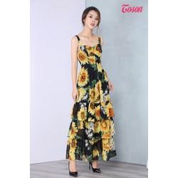 46008H327 - Đầm maxi họa tiết lá cây, 2 dây, váy xếp 3 tầng