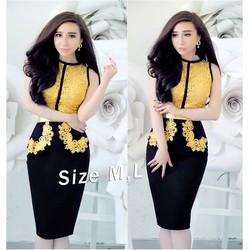 Đầm body đen phối ren vàng giống bella YKTD939