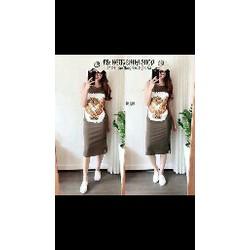 Đầm suông thun in hình đại bàng Quảng Châu