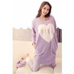 Bộ ngủ nữ dài tay áo tím chữ pink quần tím kẻ sọc