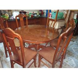 Bộ bàn ghế ăn, bàn tròn - gỗ trẹo - loại kính xoay
