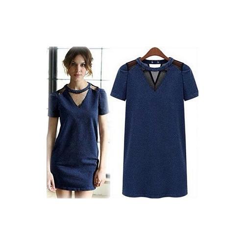 Đầm Jean Suông Phối Lưới