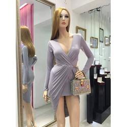 Chuyên sỉ - Váy dạ hội dài tay khoét ngực sâu ôm body sexy