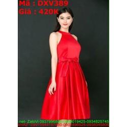 Đầm xòe cổ yếm thắt lưng màu đỏ sang trọng thời trang DXV389