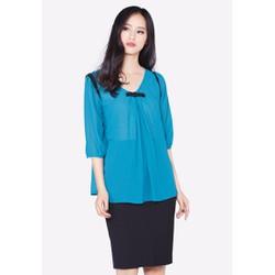 Áo kiểu The One Fashion màu xanh dương nơ ngực