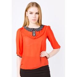 Áo kiểu The One Fashion màu cam cổ sen