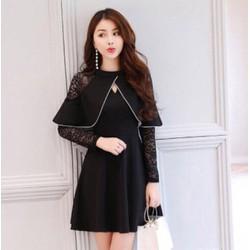 HTD663-ĐẦM XOÈ THUN PHỐI REN-shop HOA TRANH