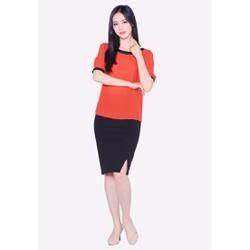 Áo kiểu nữ The One Fashion ADB0191 màu cam cổ thuyền phối nơ lệch